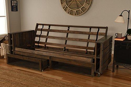 Kodiak Furniture KF Tacoma Futon Frame with Storage Drawers Rustic Walnut