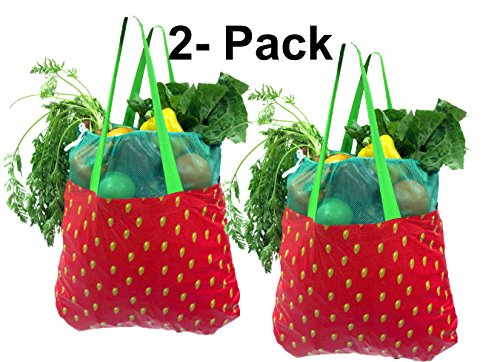 Earthwise Reusable Grocery Shopping Tote Bag Produce Farmers Market Strawberry (2 Pack)