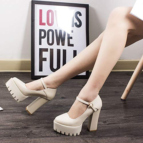 Women'S heels High Sole Thick Shoes White 12Cm Pointed With Shoes Buckle Single Super Work Waterproof Platform Yukun Creamy Heeled Autumn High Shoes Catwalk O5qSWnwa
