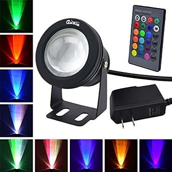 RUICAIKUN 10W Waterproof Outdoor US plug RGB Light LED Flood Light with Remote Control (DC/AC 12V)