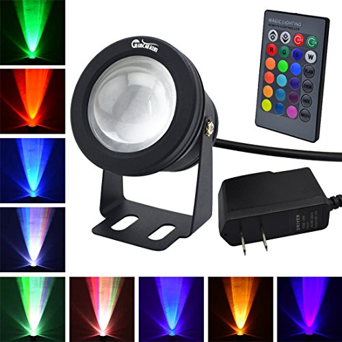 (RUICAIKUN LED Flood Light 10W Waterproof Outdoor US plug RGB Light with Remote Control (DC/AC 12V),above Ground Pool)