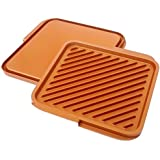 Gotham Steel 1220  Nonstick Copper Double Grill and Griddle, Reversible with Ti-Cerama Coating, Perfect for BBQs and More – As Seen on TV