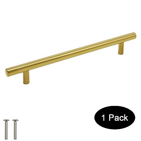 Probrico tiradores de puerta de armario de cocina (latón cepillado T Bar pomos acero inoxidable 9 tamaño (50 mm, 64 mm, 76 mm, 96 mm, 128 mm, 160 mm, ...
