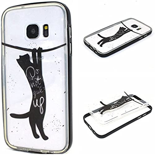 Galaxy S7 Case,S7 Case,Gift_Source [Black Cat]TPU Soft Back Case Cover Ultra Thin Slim Crystal Clear Back Panel TPU Hybrid Thin Soft Shockproof Sales