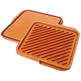 Gotham Steel Ceramic & Titanium Nonstick Double Grill Tray, Brown
