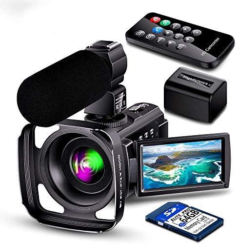 [スポンサー プロダクト]ビデオカメラ Besungo 4200万全画素 30FPS HDR 充電式マイク レンズフード ウェブカメラ用 ビデオ通話 16倍デジタルズーム IR夜視機能 64Gカード付け