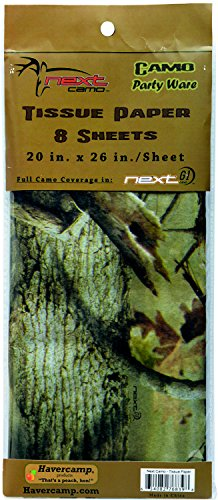 Camouflage Tissue Paper (8 Sheets, beautiful, detailed printing) Next Camo Party collection by Havercamp -