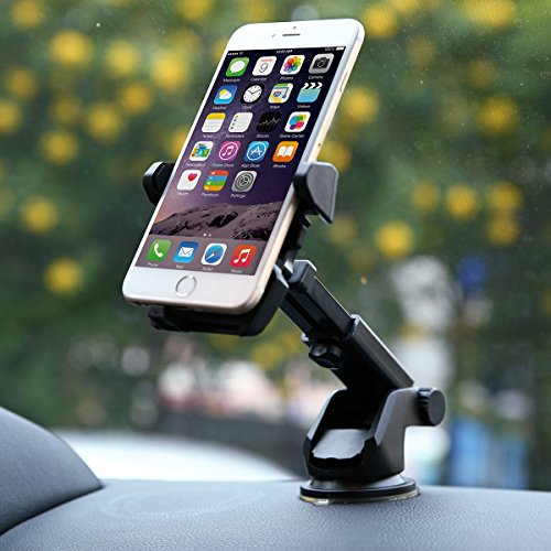 isYoung Dash-Mount Car Holder for Glass Suction Cup - Stretchable and Rotatable - for almost Smartphone, Black