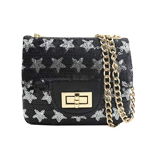 Price comparison product image ZGMYC Little Girls Glitter Sequins Crossbody Purse Stars Shoulder Bag Satchel with Chain Strap