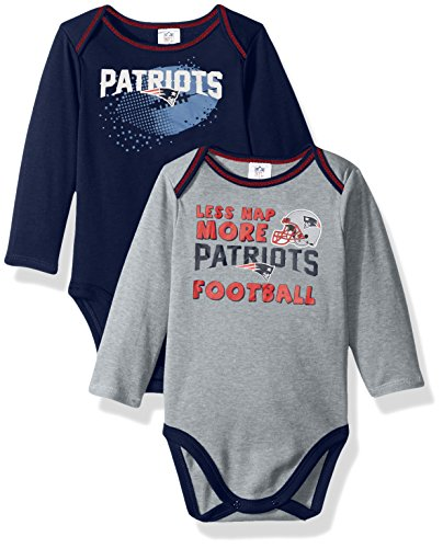 iots Boys Long Sleeve Bodysuit (2 Pack), 3-6 Months, Navy (New England Patriots Infant)