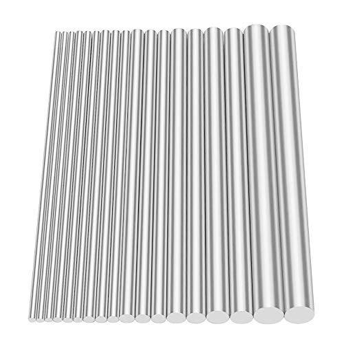 Glarks 18Pcs Aluminum Solid Round Rod Lathe Bar Stock Assorted for DIY Craft Tool, Diameter 2.5-8mm Length 100mm