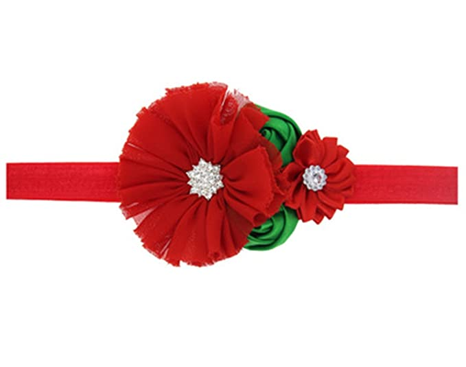 ZOONAI Baby Girl Christmas Headbands Infant Flower Bow Hair Bands  Accessories (A) 6c4df48ab1f