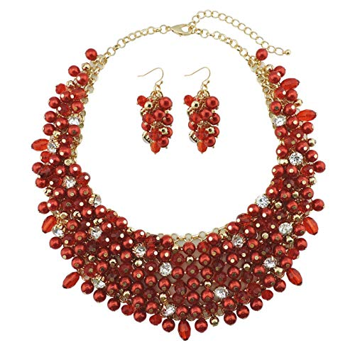 Bocar Fashion Faux Pearl Crystal Chunky Collar Statement Necklace Earring Set for Women Gift (NK-10260-red)