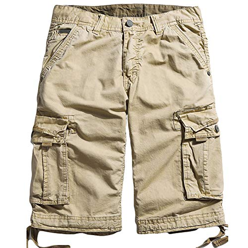 Northgard Men's Cargo Shorts Cotton Twill Relaxed Fit Multi Pocket Cargo Short Pants(Khaki,34) ()