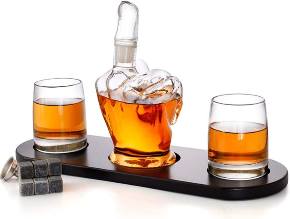 Bourbon /& Other Alcoholic Drinks Boyfriends Gift Accessories for Men Diamond Decanter Middle Finger Whiskey Decanter Set Tequila Rum Dads Unique /& Funny Glass Container for Scotch Brandy