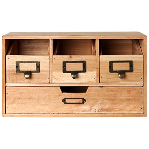 Rustic Brown Wood Desktop Office Organizer Drawers / Craft Supplies Storage Cabinet - MyGift�
