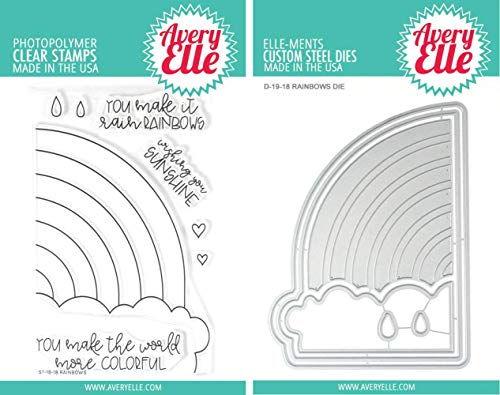 Avery Elle - Rainbows Clear Stamps and Dies Set - 2 Item Bundle