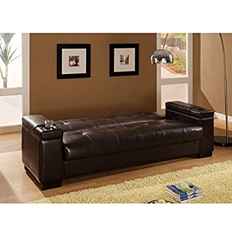 300143 Coaster Convertible Sofa Sleeper With Storage In Plush Dark Brown  Faux Leather