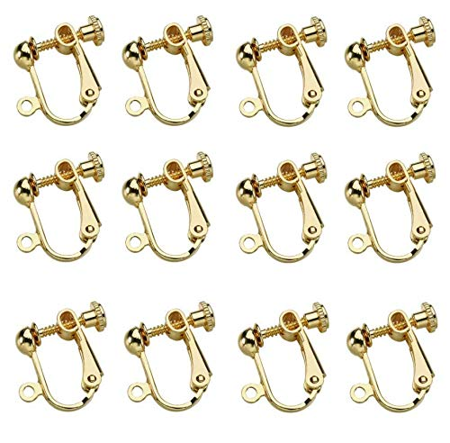 LASSUM 10 Pcs Gold Plated Clip-on Earring Converter with Screw Adjustment for DIY Earrings,14x15mm