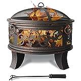 Cuenco de fuego de acero 66cm Hoyo de fuego negro Estilo clásico Cesta de fuego resistente Piernas de póker Tapa protectora Bujía