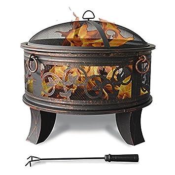 Cuenco de fuego de acero 66cm Hoyo de fuego negro Estilo clásico ...