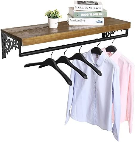 Wall Mounted Wood Metal Floating Shelf w Garment Hanger Rod, Decorative Retail Clothing Rack, Brown