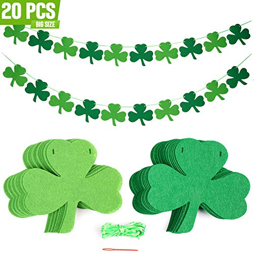 Tonak Felt Shamrock Clover Banner Hanging Shamrock Decorations Shamrock Ornament Decor for st Patricks Day Accessories Garland Banner st. Patricks Day Decorations Irish Day Party Supplies 20pcs ()