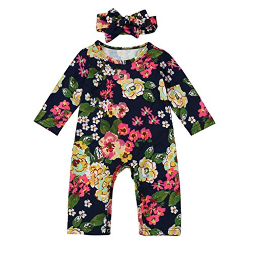 Sunbona Toddler Baby Boys Girls Floral Printed Long Sleeve Pajamas Romper Jumpsuit Headban Outfits Clothes (0~6months, Navy)