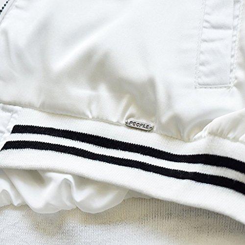 Wantdo Mujer Chaqueta de Bombardero Clásico Zipper Vuelo Blanco