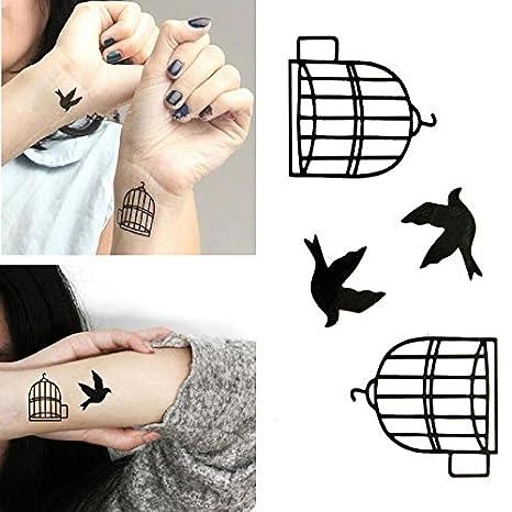 Oottati Tatuajes Temporales Muñeca Jaula Pájaros (Juego De 2 ...