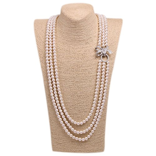 Wild Wind (TM) Valentine's Elegant Luxy Diamond Bow Pearl Strands Necklaces (White Three Layers)