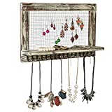 Distressed Wood Wall Mounted Jewelry Earring Bracelet Organizer Display Shelf with 16 Necklace Hooks