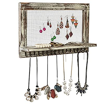MyGift Distressed Wood Wall Mounted Jewelry Earring Bracelet Organizer Display Shelf with 16 Necklace Hooks - WALL-MOUNTED JEWELRY ORGANIZER: Rustic style barnwood wall mounted jewelry shelf rack for showcasing your earrings, necklaces and bracelets. EARRING DISPLAY & STORAGE: Features a chicken wire screen designed for hanging hook earrings and 16 hooks below the shelf can accommodate necklaces or bracelets. NECKLACE & BRACELET HOOKS: 16 hooks along the bottom hold several necklaces or bracelets each - wall-shelves, living-room-furniture, living-room - 51UT1m8nJcL. SS400  -