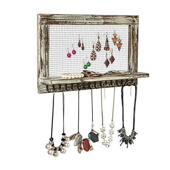 MyGift Distressed Wood Wall Mounted Jewelry Earring Bracelet Organizer Display Shelf with 16 Necklace Hooks - WALL-MOUNTED JEWELRY ORGANIZER: Rustic style barnwood wall mounted jewelry shelf rack for showcasing your earrings, necklaces and bracelets. EARRING DISPLAY & STORAGE: Features a chicken wire screen designed for hanging hook earrings and 16 hooks below the shelf can accommodate necklaces or bracelets. NECKLACE & BRACELET HOOKS: 16 hooks along the bottom hold several necklaces or bracelets each - wall-shelves, living-room-furniture, living-room - 51UT1m8nJcL. SS570  -