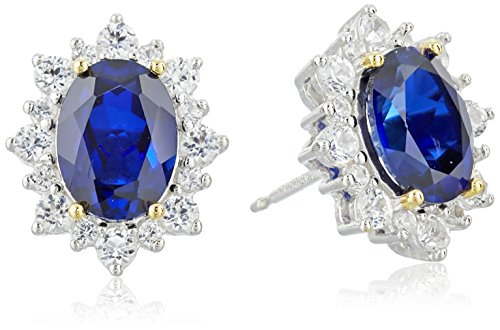 Sterling Silver Created Blue Sapphire Oval Cut 8x6mm and Created White Sapphire Starburst Halo Stud Earrings by Amazon Collection