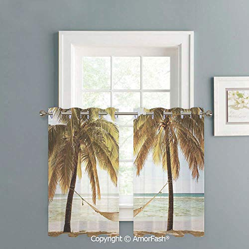 1970s Sheer Semi - AmorFash Kitchen Window Sheer Curtains -White Crushed Voile Draperies,Privacy Semi Sheer Curtains,W42 x L45-Inch,Holiday Decorations Seascape Hammock Palm Trees on Shore Tropical Beach Sunset