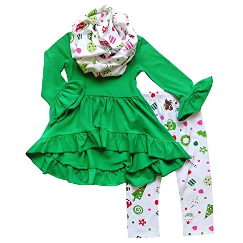 Toddler Girl Christmas Outfits (So Sydney Toddler Girls 3 Pc Hi Lo Christmas Holiday Ruffle Tunic Outfit, Scarf (XS (2T), Green Christmas))