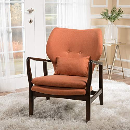 - GDF Studio 299577 Ventura Orange Fabric Dark Espresso Frame Club Chair,