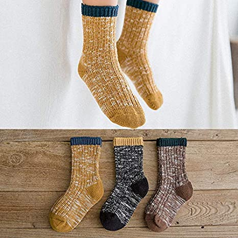 Baby Boys Girls Socks 3 Pairs Toddler Thick Warm Seamless Chunky Knit Cotton Socks Kid Cotton Crew Socks