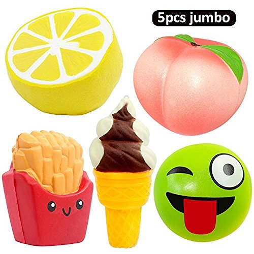DANCING LEAVES 5pcs Jumbo Squishies, Lemon, Peach, Ice Cream Cone, Emoji Bun, French Fries, Slow Rising Squeeze Kawaii Squishies Scented Charms Hand Wrist Stress Relief (Jumbo Leaf)