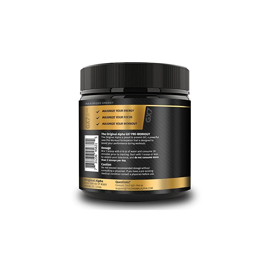 Alpha Gx7 Pre Workout Powder Energy Drink for Workouts 252g 30 Servings Blue Raspberry Flavor