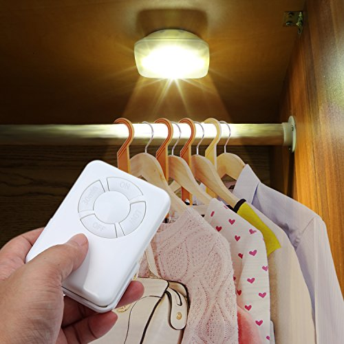 Remote Control Under Cabinet Lighting Tap Light 5 LED Wireless Closet Lights Touch Lights Puck Light Dimmable Nightlight (2 White Lights)