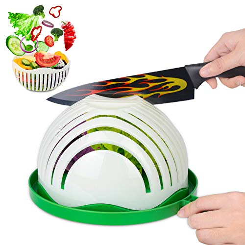Salad Cutter Bowl, Homeweeks Newest Vegetable Cutter Bowl for Salad in 60 Seconds,Best Vegetable Chopper Salad Maker with Family-Sized &BPA Free (8 Inches)