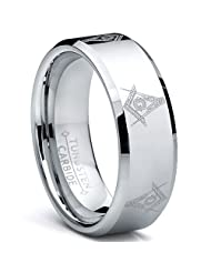 Metal Masters Co.® 8MM FREEMASON MASONIC Tungsten Carbide Ring Men's Bands Sizes 7 to 15