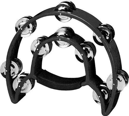 YMC TAM20-BLACK Double Row Tambourine - Metal Jingles Hand Held Percussion Ergonomic Handle