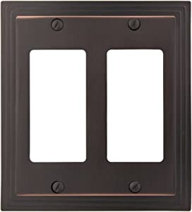 AMERELLE 84RRVB Steps Double Rocker Cast Metal Wallplate in Aged Bronze