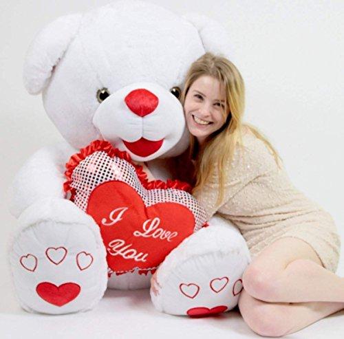 Big Plush Romantic Giant White Teddy Bear 40 inch Soft I Love You Heart
