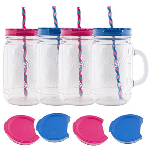 Aladdin  32oz Plastic Mason Jar Tumbler With Straw and Lid T