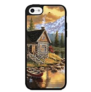 Vacation in Spring: Wood Cabin and Canoe Hard Snap on Phone Case (iPhone 6 plus 5.5'')