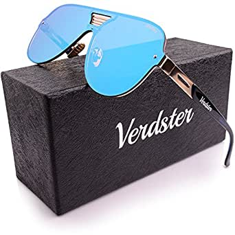 Verdster Gafas De Sol De Aviador Oversize Hombre TourDePro – Aptos para Conducir – Montura Cómoda con Protección UV – Incluye un estuche, funda y un pañuelo (Adultos/Grandes, Azul/Oro)